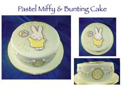 Pastel Miffy & Bunting Cake