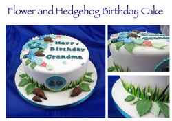 Flower and Hedgehog birthday cake