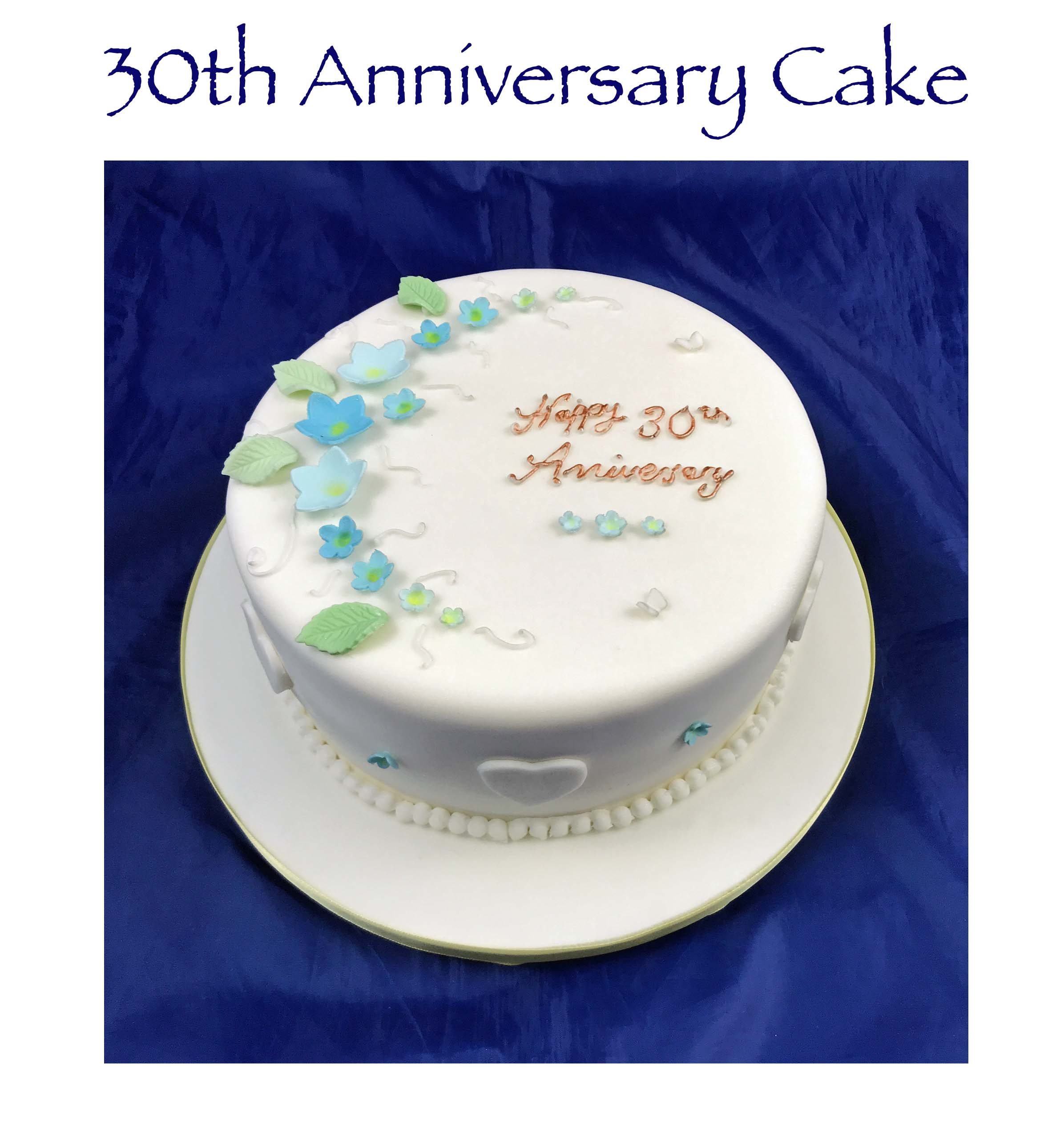 30th Anniversary Cake - forget me nots