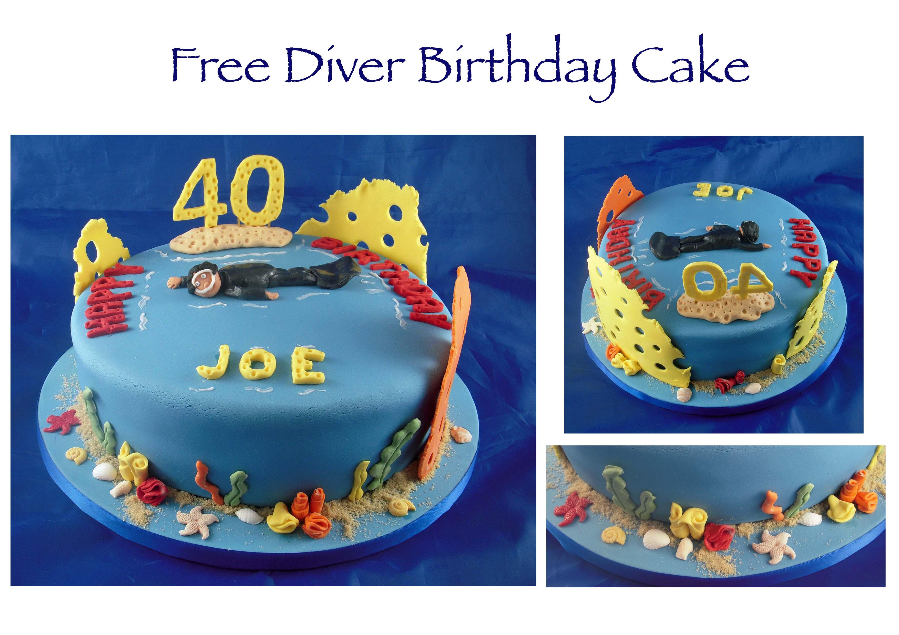 Free Diver Birthday Cake