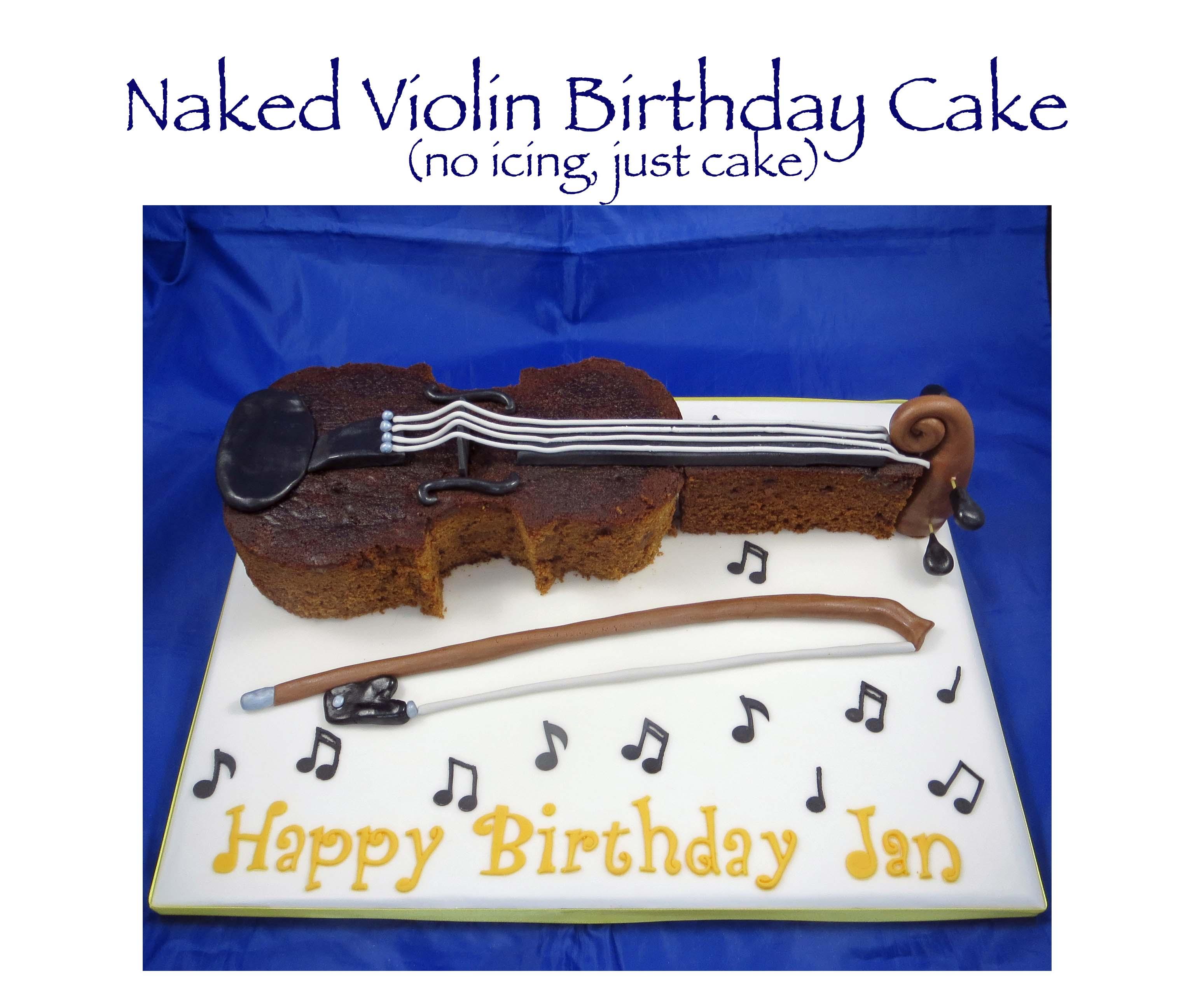 Naked violin cake