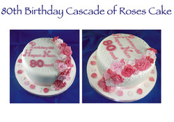 80th Birthday Welsh Cascade of Roses Cake