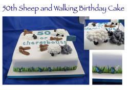 50th Sheep and Walking Cake