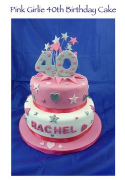 Girlie 40th Birthday Cake