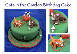 Cats in the Garden Birthday Cake