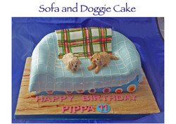 Sofa and doggie cake