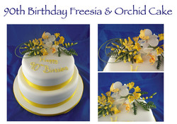 90th Birthday Freesia & Orchid Cake copy