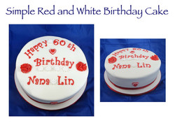 Simple Red and White Birthday Cake