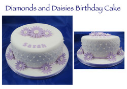 Diamonds and Daisies Birthday cake