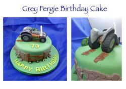 Grey Fergie Birthday Cake