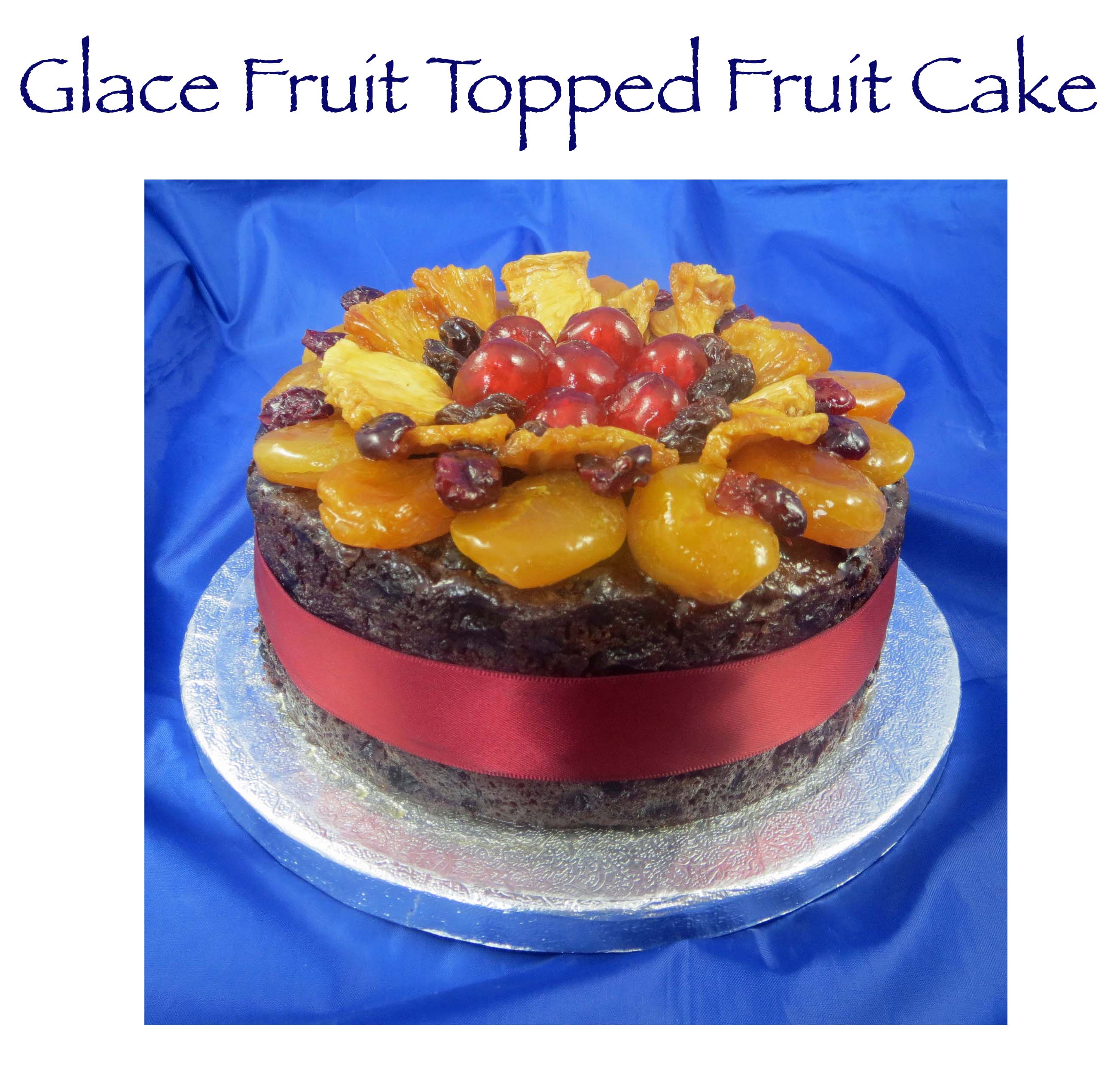 Glace Fruit Topped Fruit Cake