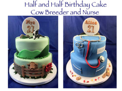 Half and half cow breeder and nurse cake