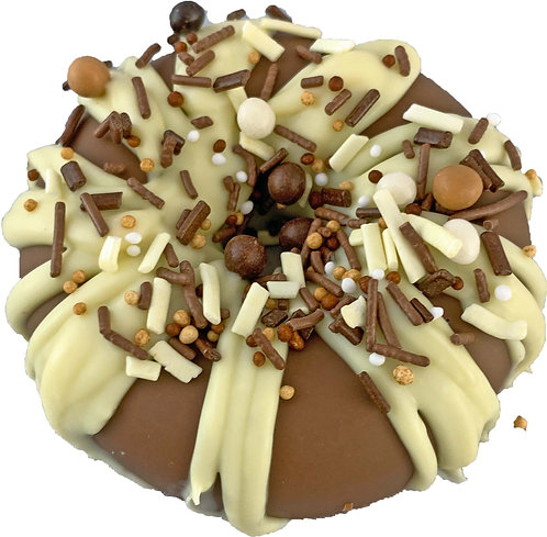 Solid chocolate donut with crunchy caramel topping