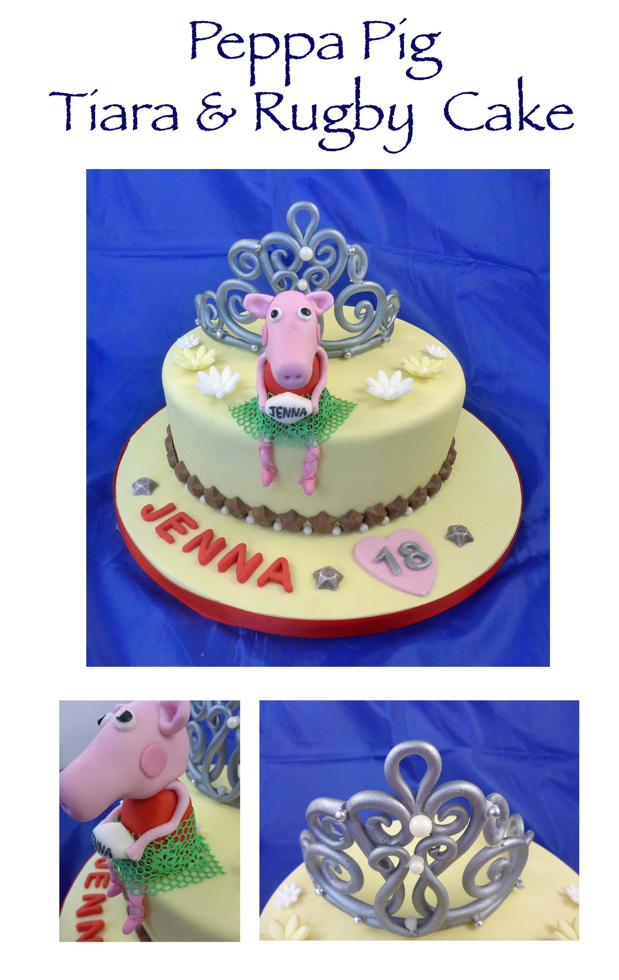 Peppa Pig, Rugby, Tiara & Ballet Cake_ed
