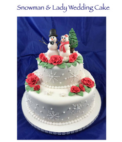 Snowman and Lady Wedding Cake