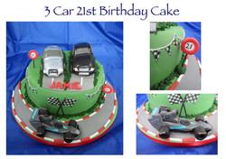 3 Car 21st Birthday Cake