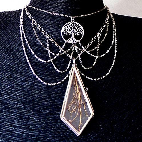 Collier toile d'araignée chaînes argent arbre de vie avec médaillon en verre contenant de vraies racines