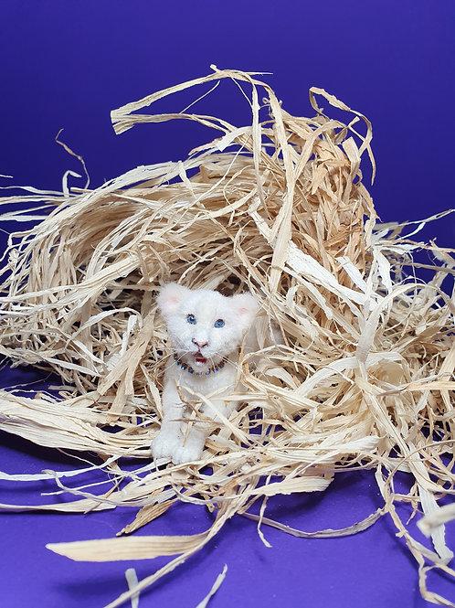 One of a kind miniature white lion