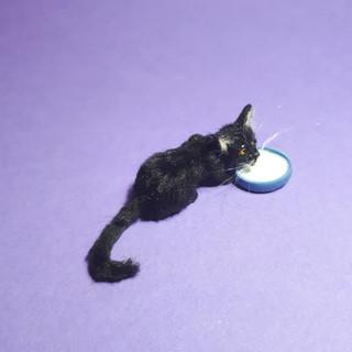 one of a kind Ooak miniature dollhouse black cat handmade by ewelina realistic