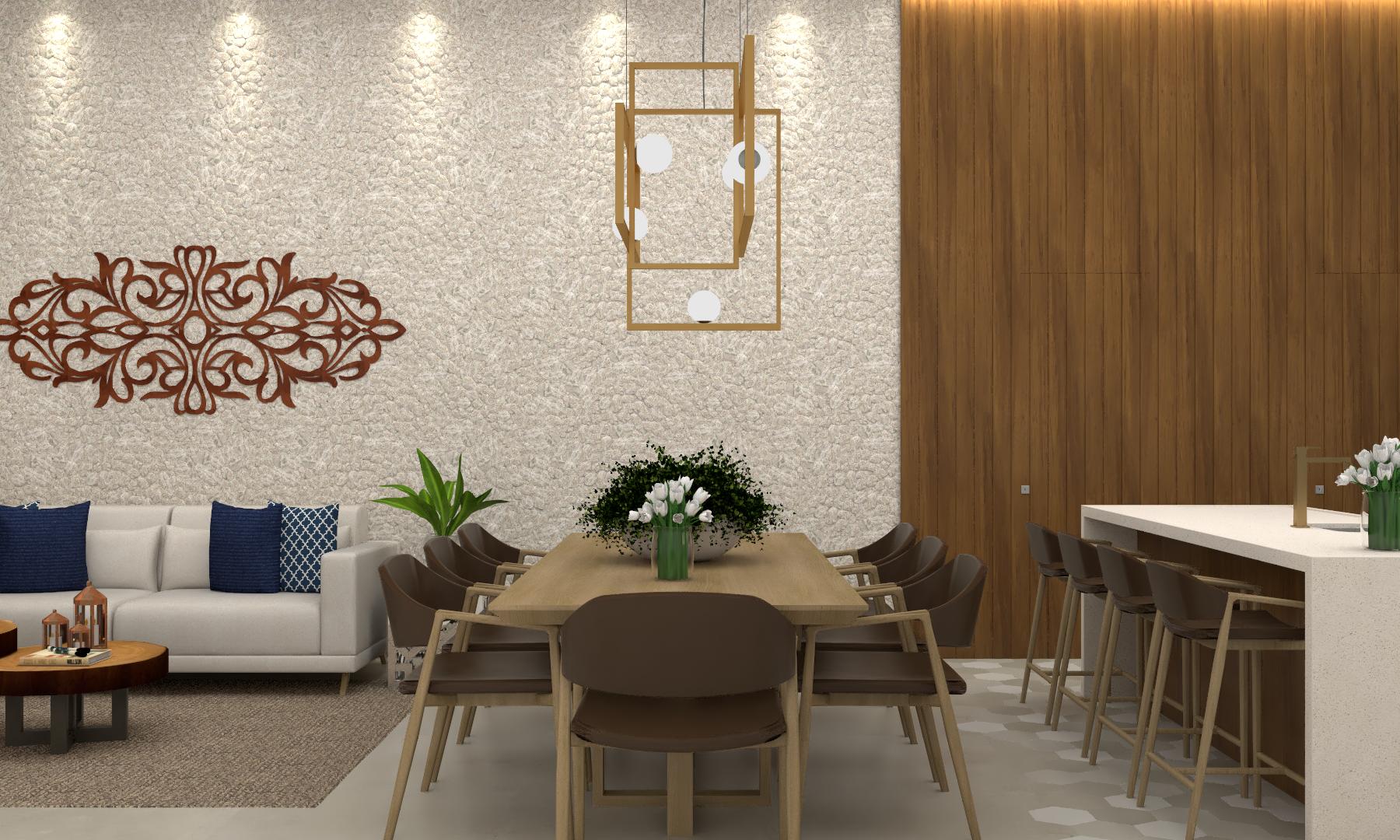 Sala de estar, jantar e cozinha gourmet