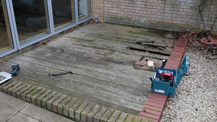 Replace several decking treads that are rotting ... OK lets take a look...