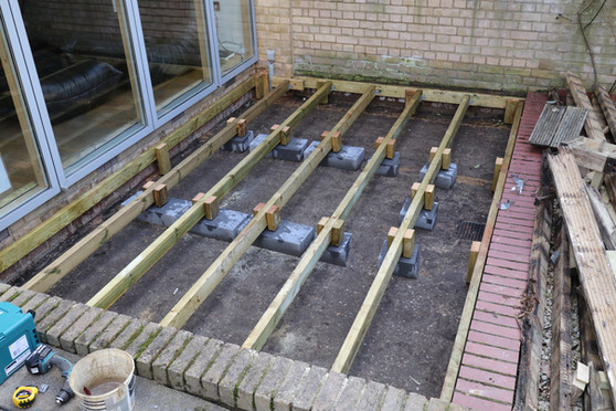 Joists are green pressure treated with an added treatment of SIKA Wood Preservative.