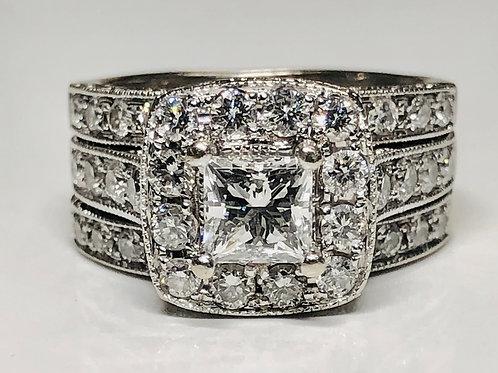Certified Princess Diamond Ring 14k White Gold