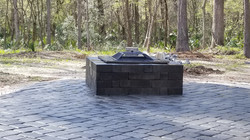 Wooded backyard firepit