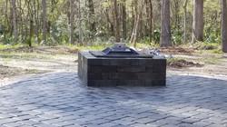 Wooded backyard firepit