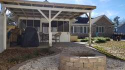 firepit and pool house cover in summervi