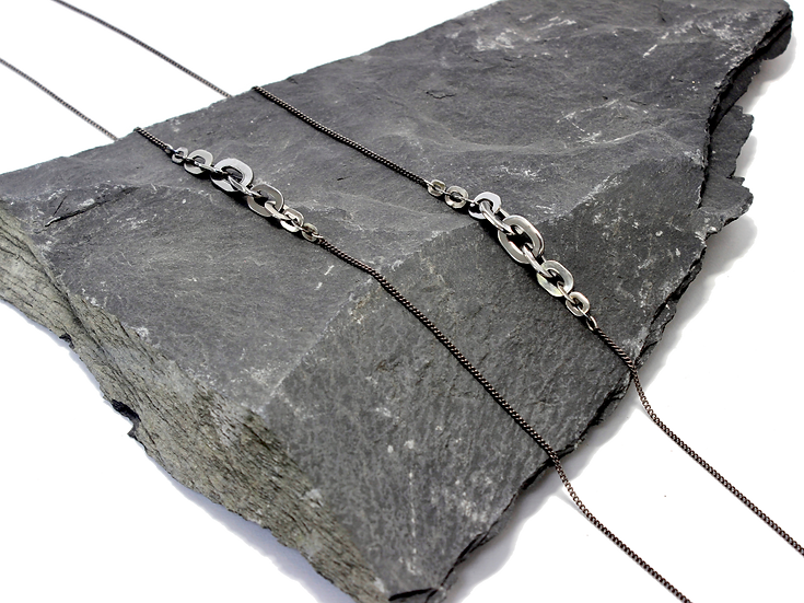 Double Graduated Stainless Steel Flat Chain Necklace