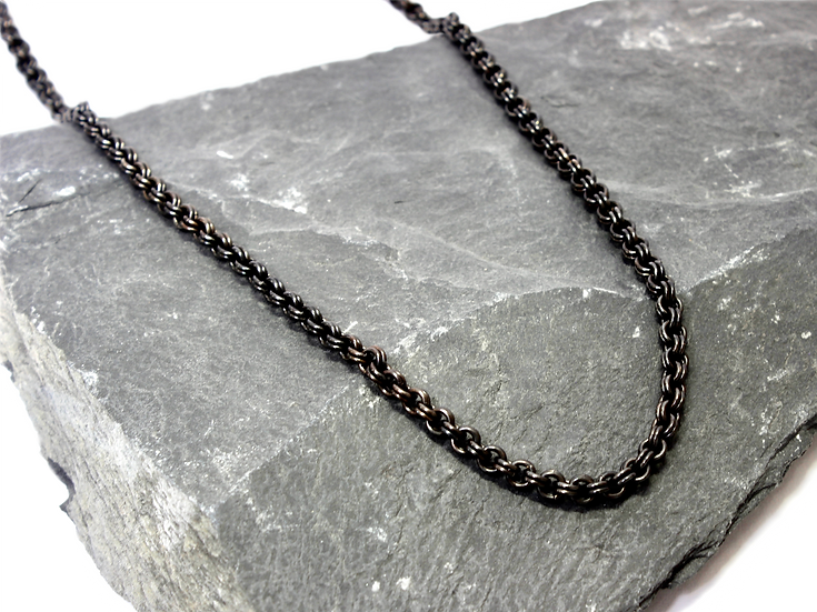 Stainless Steel Double Chain Link Necklace (black steel)