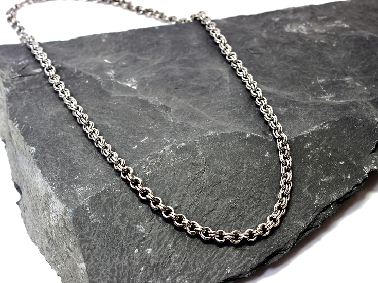 Stainless Steel Double Chain Link Necklace