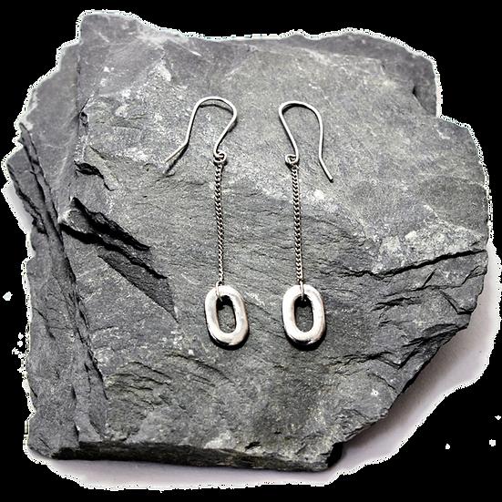 Stainless Steel Flat Chainlink Dangle Earrings