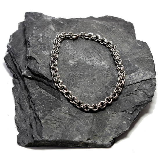 Stainless Steel Double Chain Link Bracelet (silver stainless steel)