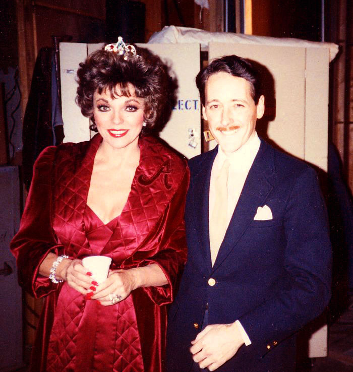With Joan Collins, December 1985