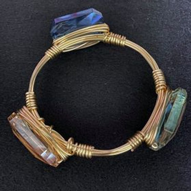 Gold toned Agate Wrapped Bracelet