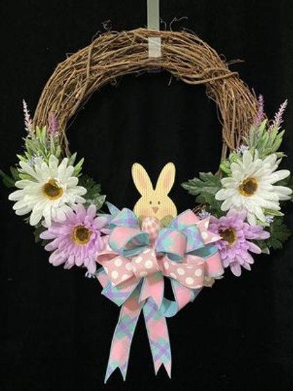 Peeking Bunny 14 inch Grapevine Wreath
