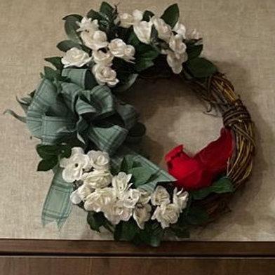 Cardinal Grapevine Wreath - Any Season - 11 inches
