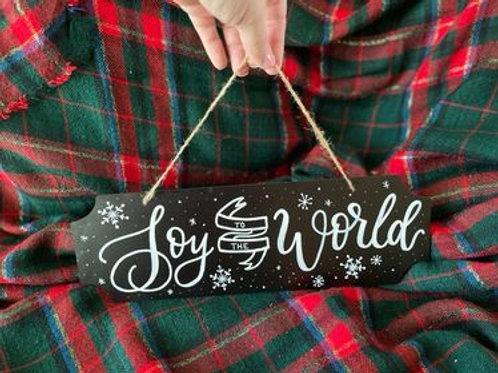 Joy to the World flat hanging sign