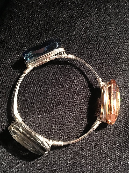 Chinese crystal silver wire-wrapped stacking bangle