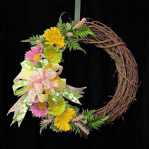 Gerbera Grapevine Wreath 18""