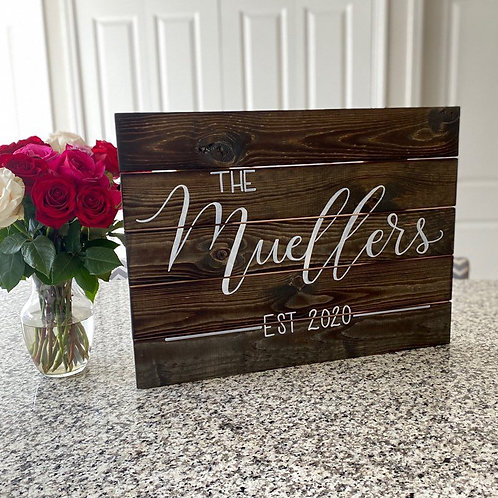 Family Name Large Wooden Sign