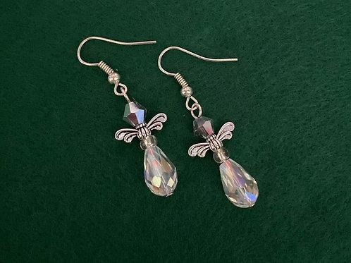 Clear Crystal Angel Earrings