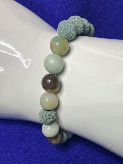 Flower Amazonite & Lava Bead Diffuser Stretch Bracelet