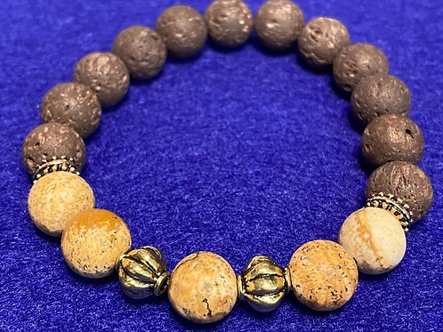 Tan & Brown Stone & Lava/Diffuser Bead Stretch Bracelet