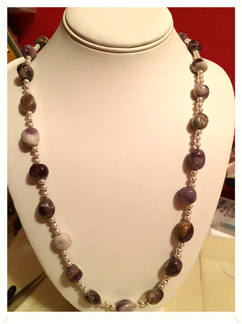 "30"" Gemstone & pearls necklace"