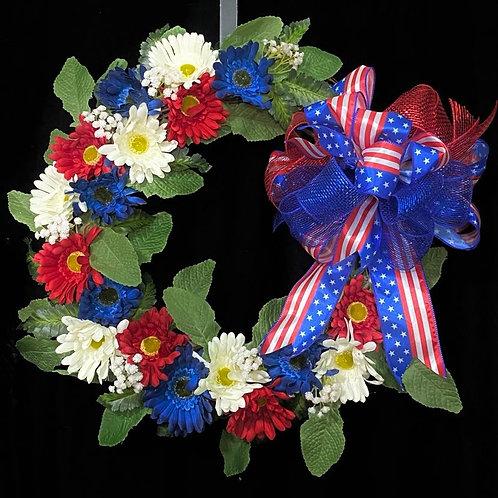 """Patriotic Wreath - 18"""" Grapevine"""
