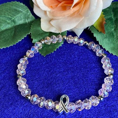 Pink Crystal Breast Cancer Awareness Stretch Bracelet