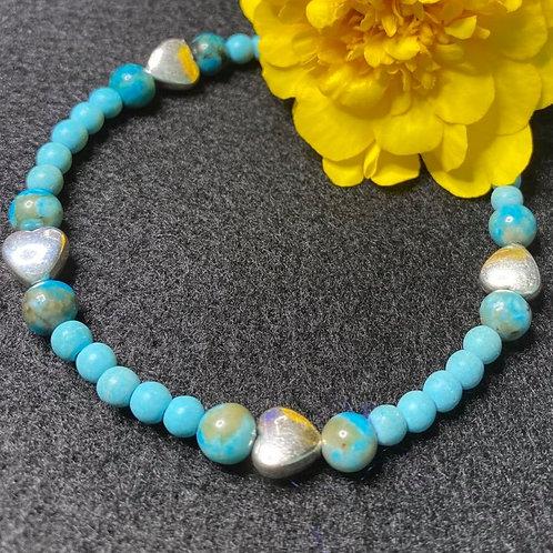 Blue Jasper & Magnesite Stretch Bracelet